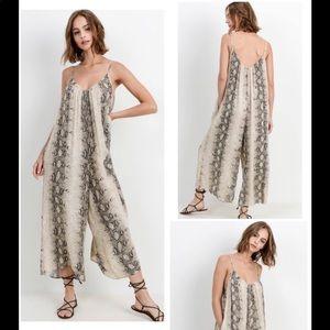 Cherish Snakeskin Print Jumpsuit